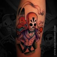 Grim Fandango cartoon style tattoo