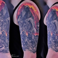 Grim Reaper on horse tattoo