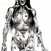 Horrible Black And White Brunette Zombie Pin Up Girl Tattoo Design