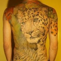 Huge amazing colorful cheetah in tropics tattoo on back