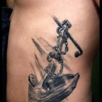 Huge black-and-white chained wooden anchor tattoo for men on rib-side