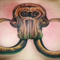 Huge mammoth skull tattoo for men on chest