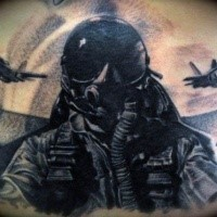Illustrative style colored tattoo of modern pilot in fighter plane combiend with lettering