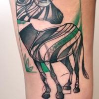 impressionante astratto colorato zebra tatuaggio su coscia