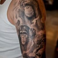 impressionante nero e bianco famiglia scimpanze` tatuaggio su spalla di uomo
