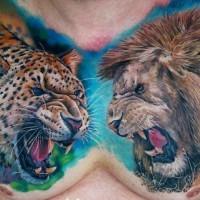 Impressive cheetah vs lion tattoo on full chest