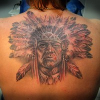 Indian head with feathers tattoo on back