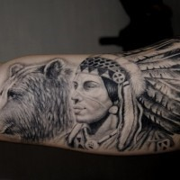 Indian warrior with bear tattoo on shoulder