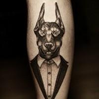 Interesting-designed black-and-white doberman in tuxedo tattoo on arm