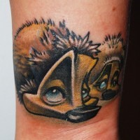 Interesting-designed colorful hedgehog tattoo on leg