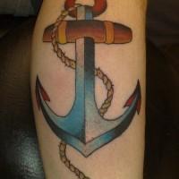 particolare ancora blu vecchia scuola tatuaggio su stinco