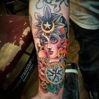 Interesting colorful old school gipsy girl tattoo for guys on forearm