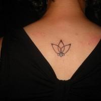 Interesting simple black-contour lotus flower tattoo on back