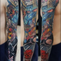 Jananes style full sleeve tattoo with dragon