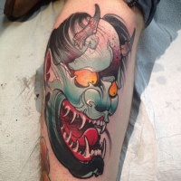 Japanese demon hannya tattoo on leg