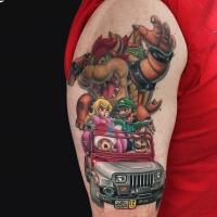 Jurassic Mario cartoon style tattoo