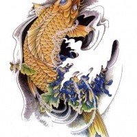 Lovely grey olor koi fish tattoo design by equine ribbon for Blue ribbon koi
