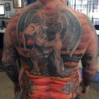 LArge demonic whole back tattoo of gargoyle in hell