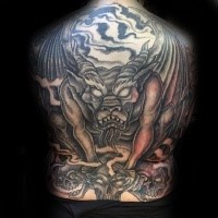 LArge old looking gargoyle with skulls tattoo on whole back