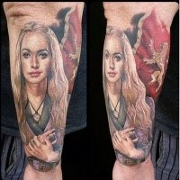 Lady Lannister and flag tattoo on leg
