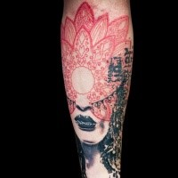 Large red colored floral ornament tattoo combined with woman leaps