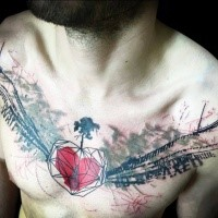 Large trash polka style colored chest tattoo of heart with lettering