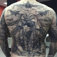 Large whole body war themed tattoo of modern planes and pilot