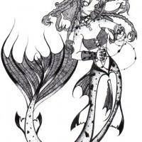 Kissing mermaid lovers in oval frame tattoo design Tattooimagesbiz