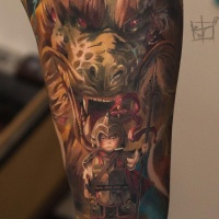 Little knight and dragoon tattoo on arm