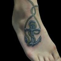 piccola ancora cordata tatuaggio su piede