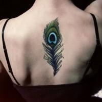 Tatuaje en la espalda, pluma de pavo real grácil