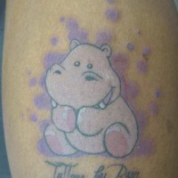 Lovely pink hippo with quote tattoo for girls on back