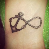 rose and flower anchor infinity with sign tattoo on back. Black Bedroom Furniture Sets. Home Design Ideas