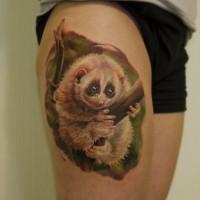 Lovely white lemur sitting on tree branch tattoo on thigh