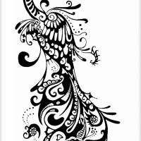 Luxury peacock with mandala nimbus tattoo design for Peacock tattoo black and white