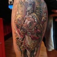 cavaliere medievale a cavallo tatuaggio sulla coscia