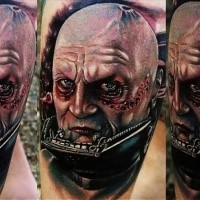 Modern style olored tattoo of Darth Vader without mask