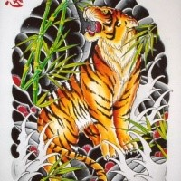 8c00f4f8f80d5 Multicolor japanese-style tiger tattoo design on back