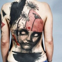 NEw school style large whole back tattoo of demonic face with flowers abd fly