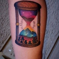 New school colored hourglass tattoo