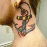 nuova scuola ancora cordata tatuaggio su collo