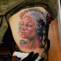 Nice Daenerys with green litlle gragon tattoo