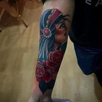 Nice american classic tattoo girl on forearm