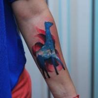 Nice giraffe tattoo on forearm