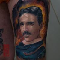 Nikola Tesla portrait tattoo