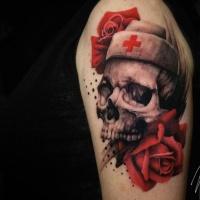Nurse skull tattoo on shoulder