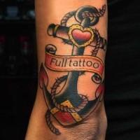 vecchia scuola ancora con scritto tatuaggio completo su braccio