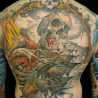 Pirate skeleton and the ship tattoo on back