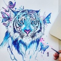Posh Blue Watercolor Tiger And Flying Butterflies Tattoo Design