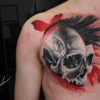 Punk Skull tattoo on chest